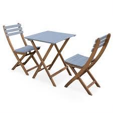 chaises pliables table bistrot pliante bicolore carrée en acacia avec 2 chaises