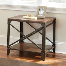 wood metal end table steve silver winston square distressed tobacco wood and metal end