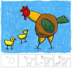 art projects for kids how to draw a hen and oil pastel