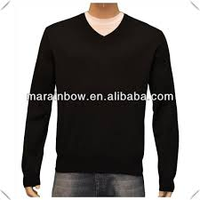 custom made wholesale plain black sweaters v neck plain design