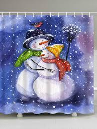 Waterproof Fabric Shower Curtains Christmas Snowmen Lover Print Waterproof Fabric Shower Curtain