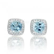aquamarine stud earrings stud earrings cushion diamond halo 5x5mm