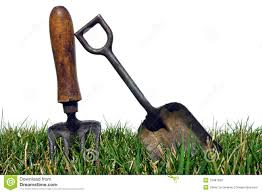 Gardening Tools by Antique Gardening Tools In Garden Grass On White Stock Photo