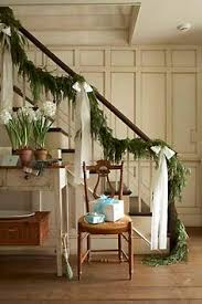 Christmas Banister Garland Ideas Christmas Garland Tied To Stairs With Ribbon Winter Wonderland