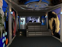 media room acoustic panels home theater featuring james bond themed prints on acoustic panels