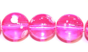 hot pink colour 30pieces x 14mm hot pink colour round shape bubble gum glass beads