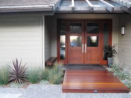 front entry deck entry contemporary with metal and wood front door