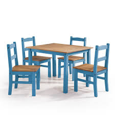 Dining Set With 4 Chairs Manhattan Comfort York 5 Blue Wash Solid Wood Dining Set