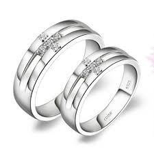 Couple Wedding Rings by Custom Engraved Wedding Couple Ring Sterling Silver And Zircon