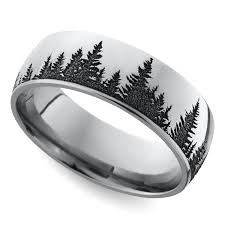 mens wedding band metals laser carved forest pattern men s wedding ring in cobalt