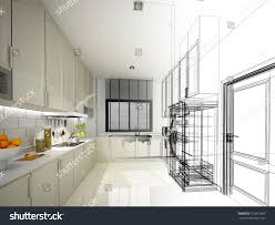 abstract sketch design interior kitchen 3d stock illustration