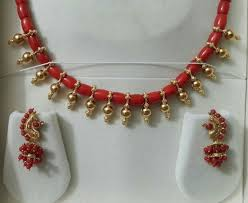 coral set antique indian jewellery indian