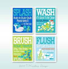 childrens kids bathroom art prints set of 4 5
