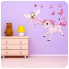 stickers chambre bébé fille fée sticker fée avec papillons et licorne stickers pour chambre fille