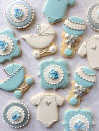 blue white and silver decorated baby shower cookies one