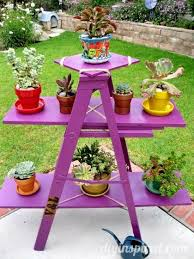 upcycled ladder garden display display gardens and yards