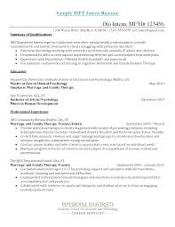 best resume exle resume sle for mft intern mental health resume objective exle