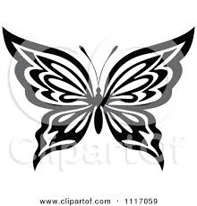 vector clipart black and white butterfly 4 royalty free graphic