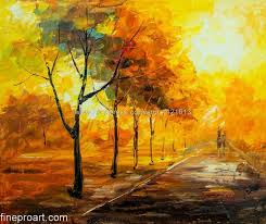warm autumn day modern art vibrant rich texture oil painting on canvas abstract living room background