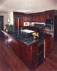 Cherry Wood Kitchen Cabinets With Black Granite Cherry Kitchen Cabinets With Gray Wall And Quartz Countertops