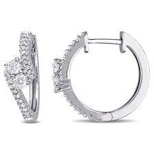 white gold hoop earrings 50ctw diamond 14k white gold bypass hoop earrings 8500863 hsn