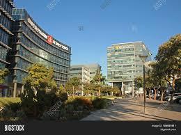 modern futuristic architecture building microsoft and super pharm