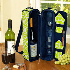 wine and cheese cooler bag with glasses for 2 trellis green 434