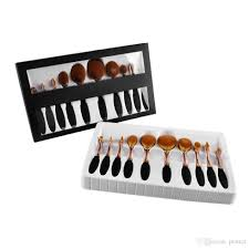 rose gold brushes tooth shape oval makeup brush set multipurpose