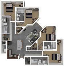 Rendering Floor Plans by Floorplans The Den Columbia Mizzou 2 U0026 4 Bedroom Apartments