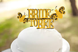 bride to bee bridal shower cake topper black and yellow bee