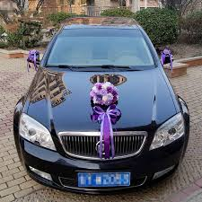 Wedding Car Decorations Aliexpress Com Buy 2017 New Ribbon Bowknot Artificial Rose