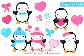 penguin valentines day clipart eps illustrations creative market