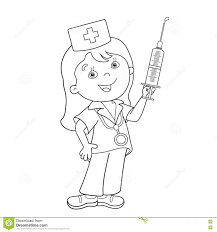 cartoon nurse with first aid kit and syringe stock image image
