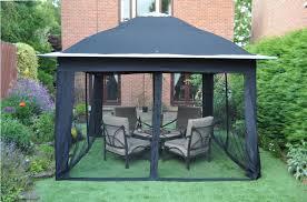 Outdoor Livingroom by Interesting Home Back Yard Living With Black Vinyl Canopy Gazebo