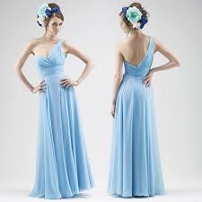 light blue bridesmaid dresses new 2016 simple one shoulder a line floor length chiffon light