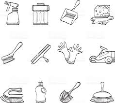 sketch icons cleaning tools stock vector art 187703315 istock