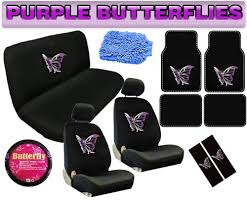 Auto Expressions Bench Seat Covers 16pc Purple Butterfly Auto Car Truck Interior Gift Set Seat