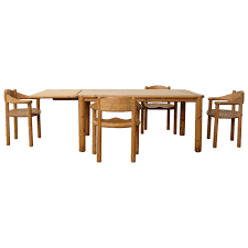 rare rainer daumiller pine dining set of a table and four chairs