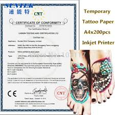 inkjet laser temporary tattoo paper black waterproof transfer