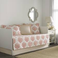 laura ashley coral coast coral 5 piece quilted daybed cover set