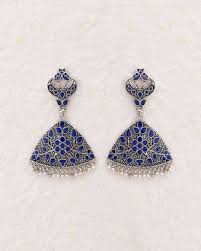 dangler earrings buy dangler earrings with blue enamel details online india