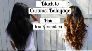 black hair to blonde hair transformations black to caramel balayage ombre hair transformation youtube