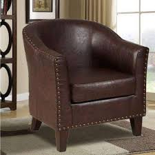 Brown Leather Accent Chair Faux Leather Accent Chairs Chairs The Home Depot