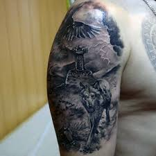 awesome wolf with mjolnir mens half sleeve ideas