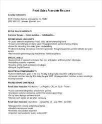 sle sales associate resume retail associate resume exle exles of resumes