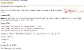 create a class wiki