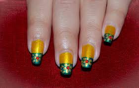 green and gold nail art golden flower nail on yellow green