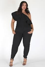 plus jumpsuit plus size one shoulder pocketed flounce jumpsuit plussizefix