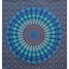 indian blue mandala queen size boho wall bedding