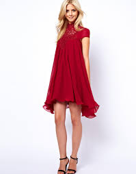 lydia bright swing dress with lace neck fashion pinterest